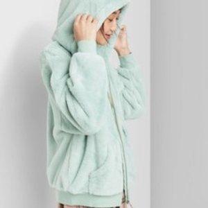 Women's Zip-Up Faux Fur Hooded Jacket - Wild Fable